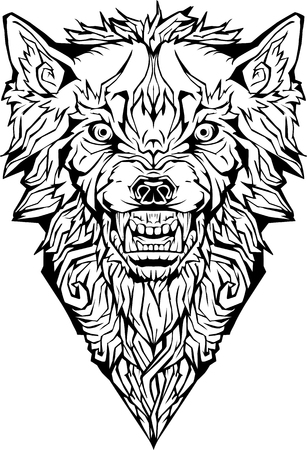 Illustration pour Image of an angry wolf. Isolated. Coloring page - image libre de droit