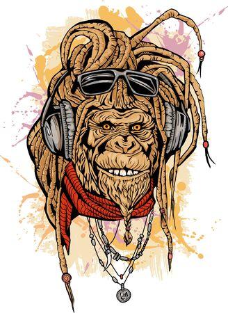 Illustration pour Portarit of club DJ rasta mokey with color - image libre de droit