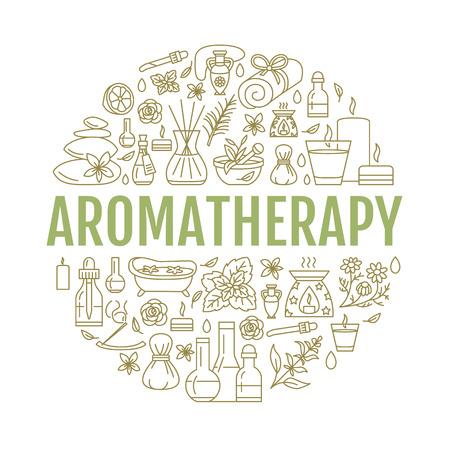 Illustration pour Aromatherapy and essential oils brochure template. - image libre de droit