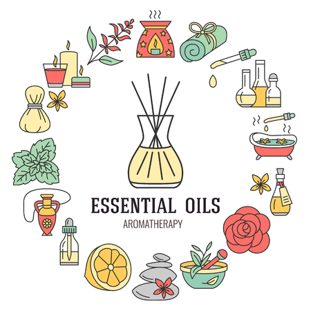 Illustration pour Aromatherapy and essential oils brochure template. Vector line illustration of aromatherapy diffuser, oil burner, spa candles, incense sticks, herbal bag massage. Aromatherapy poster, editable stroke - image libre de droit