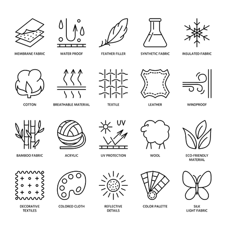 Illustration pour Vector line icons of fabric feature, garments property symbols. Elements - cotton, wool, waterproof, uv protection. Linear wear labels, textile industry pictograms with editable stroke for clothes. - image libre de droit