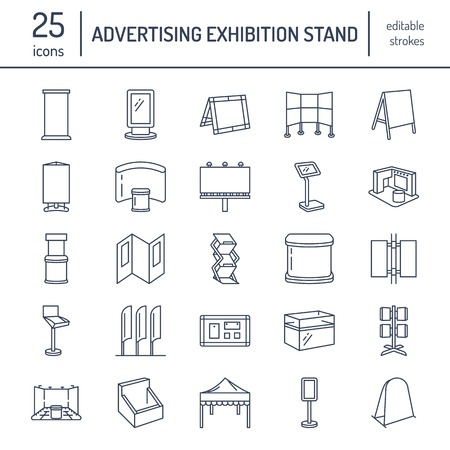 Illustration pour Advertising exhibition banner stands, display line icons. Brochure holders, pop up boards, bow flag, billboard folding marquees and other promotion design elements. Trade objects thin linear signs. - image libre de droit