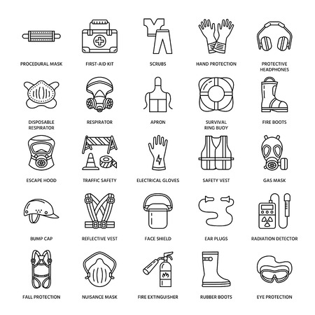 Illustration pour Personal protective equipment line icons. Gas mask, ring buoy, respirator, bump cap, ear plugs and safety work garment. Health protection thin linear signs. - image libre de droit