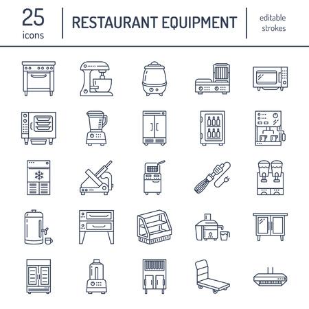Restaurant professional equipment line icons. Kitchen tools, mixer, blender, fryer, food.