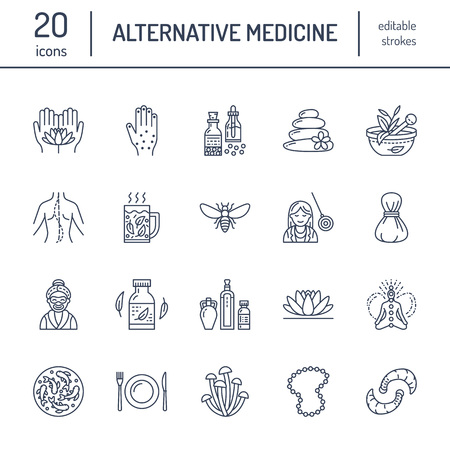 Illustration pour Alternative medicine line icons. Naturopathy, traditional treatment, homeopathy, osteopathy, herbal fish and leech therapy. Thin linear signs for health care center. color. - image libre de droit