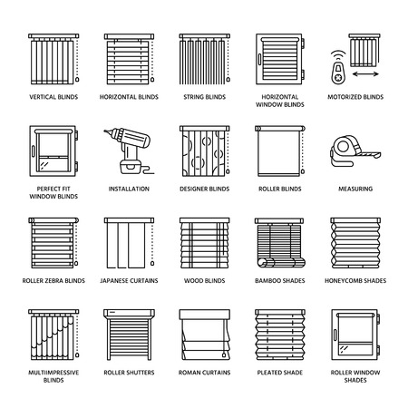Illustration pour Window blinds, shades line icons. Various room darkening decoration, roller shutters, roman curtains, horizontal and vertical jalousie. Interior design thin linear signs for house decor shop. - image libre de droit