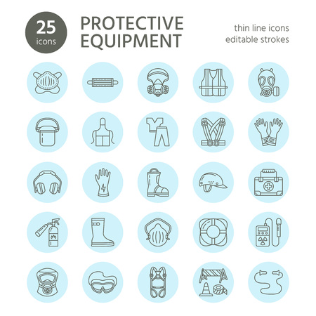 Illustration for Personal protective equipment line icons. Gas mask, ring buoy, respirator, bump cap, ear plugs and safety work garment. Health protection thin linear signs. - Royalty Free Image