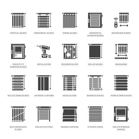 Illustration pour Window blinds, shades vector glyph icons. Various room darkening decoration, roller shutters, roman curtains, horizontal vertical jalousie. Interior design solid silhouette signs for house decor shop. - image libre de droit