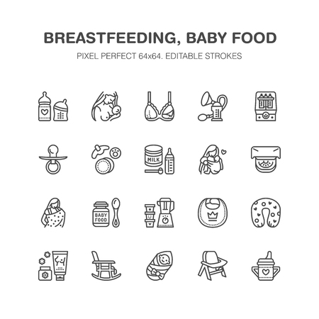 Illustration pour Breastfeeding, baby food vector flat line icons. Breast feeding elements - pump, woman, child, powdered milk, bottle sterilizer, nursing pillow. Maternity. Pixel perfect 64x64. - image libre de droit