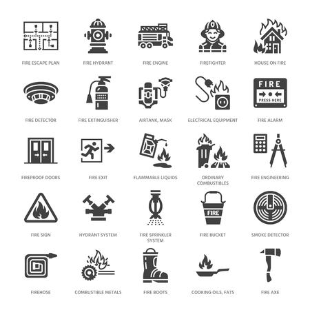 Ilustración de Firefighting, fire safety equipment flat glyph icons. Firefighter car, extinguisher, smoke detector, house, danger signs, firehose. Flame protection pictogram. Solid silhouette pixel perfect 64x64. - Imagen libre de derechos