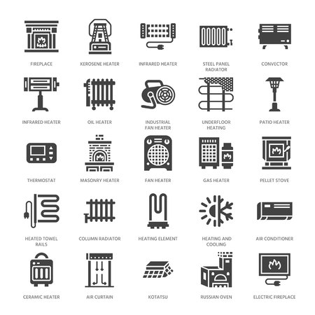 Oil heater, fireplace, convector, panel column radiator and other house heating appliances glyph icons. Home warming pictogram. Equipment store signs. Solid silhouette pixel perfect 64x64.