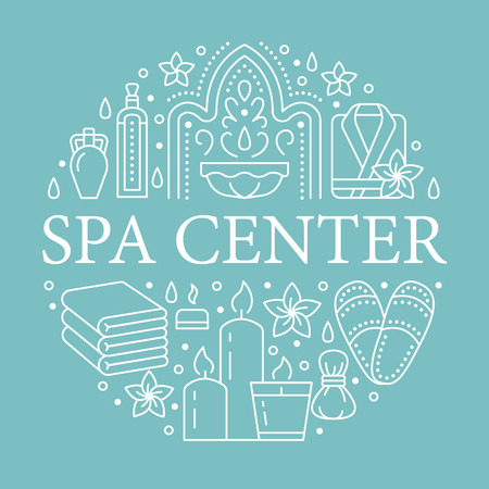 Spa Center Banner Illustration With Flat Line Icons Essential Oils Aromatherapy Massage Turkish Steam Bath Hamam Sauna Circle Template Thin Linear Signs Body Treatments Royalty Free Vector Graphics