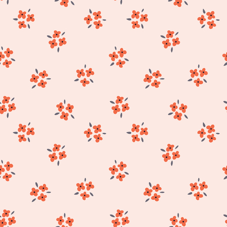 Ilustración de Floral seamless pattern with red flowers on pink background. Repeated light backdrop, soft textile texture. Bright abstract nature wallpaper. - Imagen libre de derechos