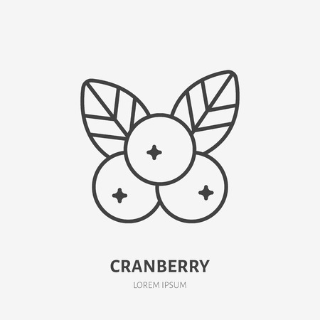 Illustration pour Cranberry flat line icon, forest berry sign, healthy food logo. Illustration of cowberry, lingonberry for natiral food store. - image libre de droit