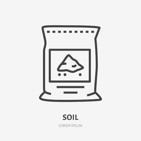 Illustration for Plants soil in bag flat line icon. Vector thin sign of ground pachage, cement pack. Fertilizer illustration. - Royalty Free Image