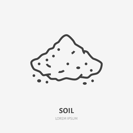 Illustration for Soil flat line icon. Vector thin sign of ground, cement, sand. Loose substance illustration. - Royalty Free Image