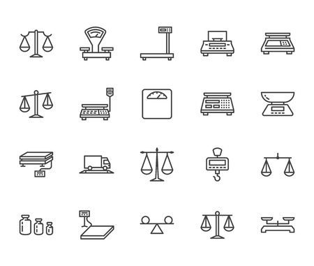 Illustration pour Balance flat line icons set. Weight measurement tools, diet scales, trade, electronic, industrial scale calibration vector illustrations. Thin sign justice concept. Pixel perfect 64x64 Editable Stroke - image libre de droit