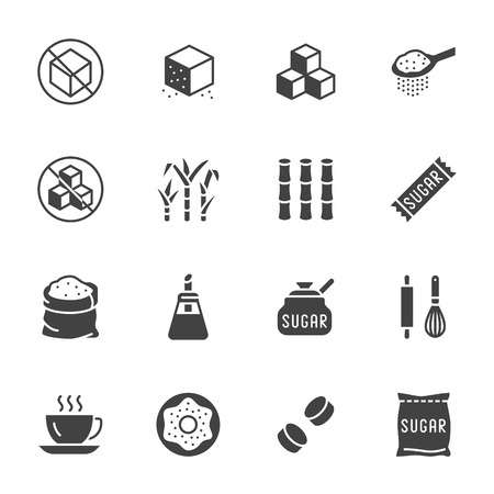 Illustration pour Sugar cane, cube flat glyph icons set. Sweetener, stevia, bakery products vector illustrations. Signs for sugarless food. Solid silhouette pixel perfect 64x64. - image libre de droit