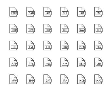 Illustration pour File format flat line icons set. Epub, dll, pps, gif, sql, fb2, eps, app document vector illustrations. Outline signs for extension. Pixel perfect 64x64. Editable Strokes. - image libre de droit