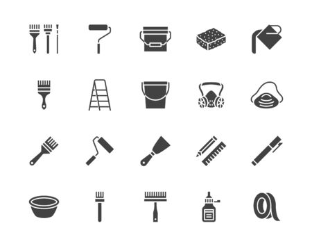 Illustration for Painter tools flat glyph icons set Home renovating equipment roller paintbrush ladder masking tape, respirator vector illustrations. Signs interior design. Silhouette pictogram pixel perfect 64x64. - Royalty Free Image
