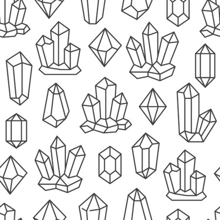 Illustration pour Crystal seamless pattern with line gemstone icons. Geometric mineral on white background with black polygonal stone quartz, diamond for magic jewelry poster design. - image libre de droit