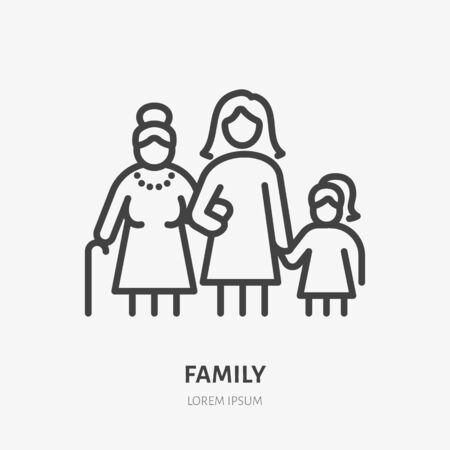Illustration pour Family line icon, vector pictogram of three female generations - grandmother, mother, daugther. Young girl with older relatives illustration, people sign. - image libre de droit