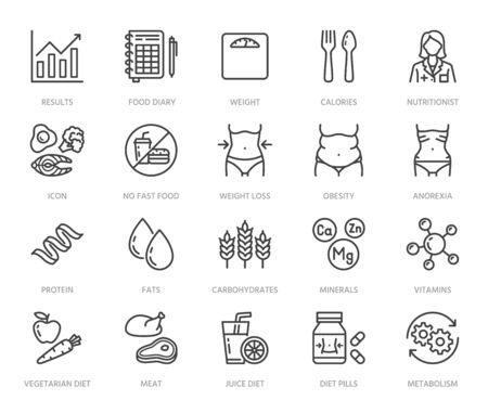 Illustration pour Nutritionist flat line icons set. Diet food, nutritions - protein, fat, carbohydrate, fit body vector illustrations. Outline pictogram for overweight treatment. Pixel perfect 64x64. Editable Strokes. - image libre de droit
