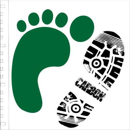 green footprint with shoe print
