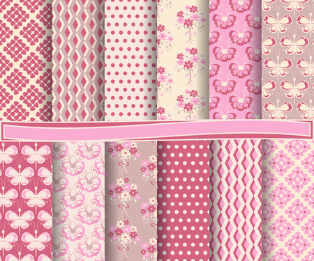 set of  abstract vector floral paper for scrapbook