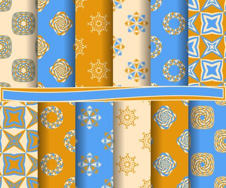 set of abstract paper with decorative shapes and design elements for scrapbook
