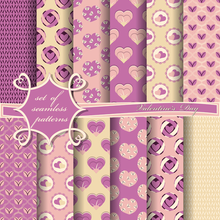 Illustration pour Set of seamless vector illustrations of Valentine's Day. Heart, abstract shapes, design elements for scrapbook - image libre de droit
