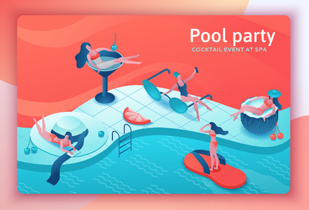 Pool party isometric 3d illustration with cartoon people in swimsuit, drinking cocktail, relax, recreation spa concept, watermelon, orange, summer event background, women paradise