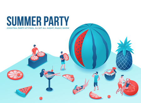 Summer party isometric 3d illustration with cartoon people in swimsuit at pool, drinking cocktail, relax, dj, music, recreation spa concept, watermelon, orange, summer event background, leisure time