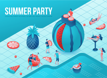 Pool party isometric 3d illustration with cartoon people in swimsuit, drinking cocktail, relax, dj, music, recreation spa concept, watermelon, orange, summer event background, leisure time