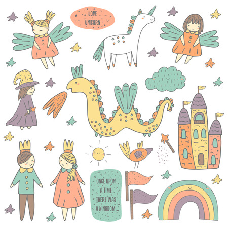 Illustration for Cute hand drawn doodle fairy tale, wonderland, kingdom objects collection including castle, princess, prince, sprites, unicorn, cloud - Royalty Free Image