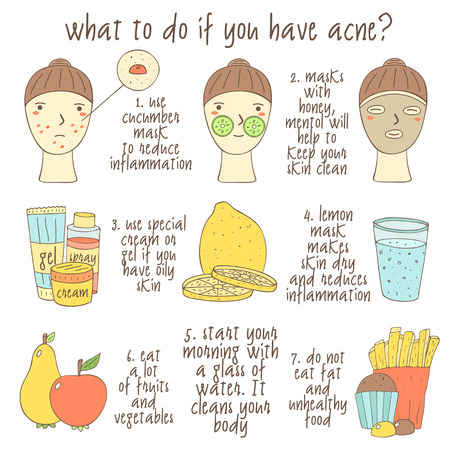Cute hand drawn doodle infographic about what to do if you have acne. Objects collection including faces, lemon, glass of water, cream, gel, apple, pear, muffin, fries, face mask. Skin problems icons
