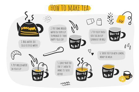 Illustration pour How to make tea infographic, instructions, steps, advises. Doodle hand drawn kettle, cup, spoon, water, tea bag lemon croissant - image libre de droit
