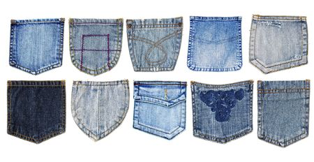 ten jeans pockets isolated