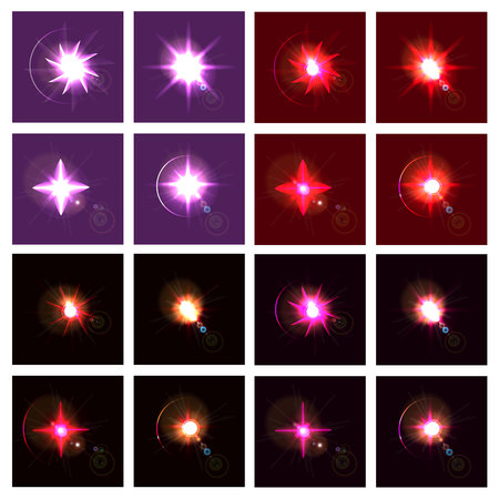 collection of shining stars on a dark red background