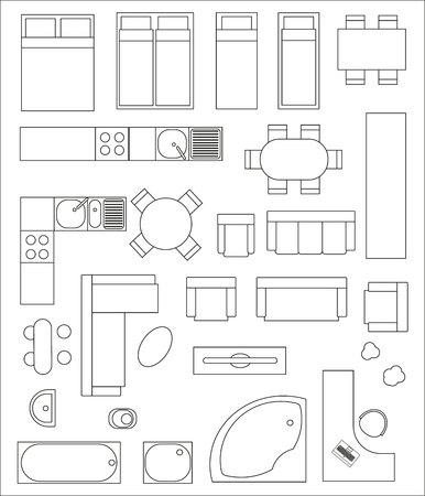 Illustration pour Set of top view interior. Different variants of furniture for apartments - image libre de droit