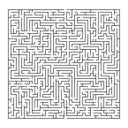 Ilustración de Complex maze puzzle game, 3 high level of difficulty. Black and white labyrinth business concept. - Imagen libre de derechos