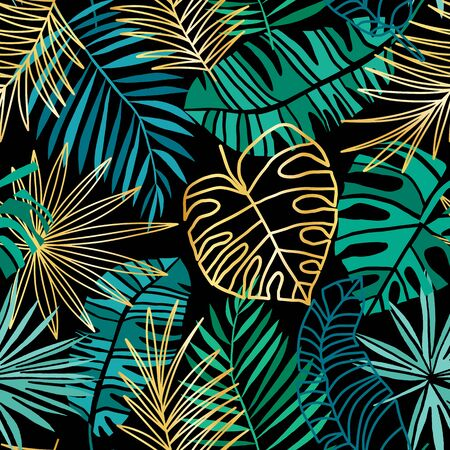 Illustration pour Tropical vector seamless pattern. Summer tropic background. Green and pink jungle leaves isolated on white - image libre de droit