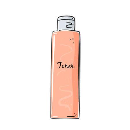 Illustration pour Toner bottle for skin care, face lotion, beauty. - image libre de droit