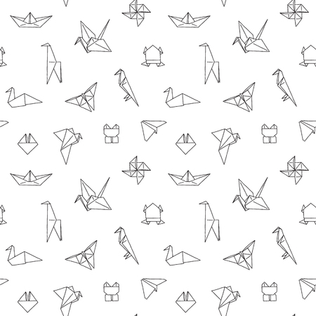 Photo for Black and White Cute Kids Seamless Pattern. Repetitive Texture with Hand Drawn Origami Animals and Objects. Vector Ink Doodle Baby Background. Cartoon Ornament - Royalty Free Image
