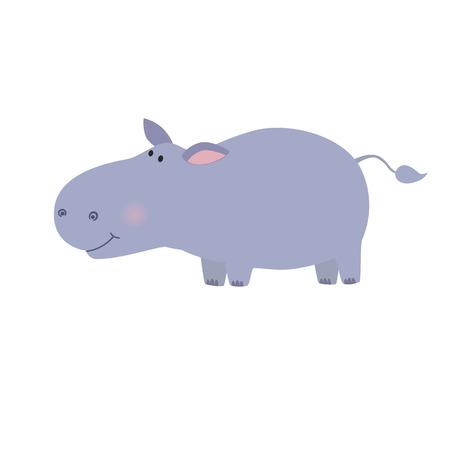 Ilustración de Hippo animal wildlife mammal, zoo wild africa cute animal nature fat african hippo. Vector illustration for the children - Imagen libre de derechos