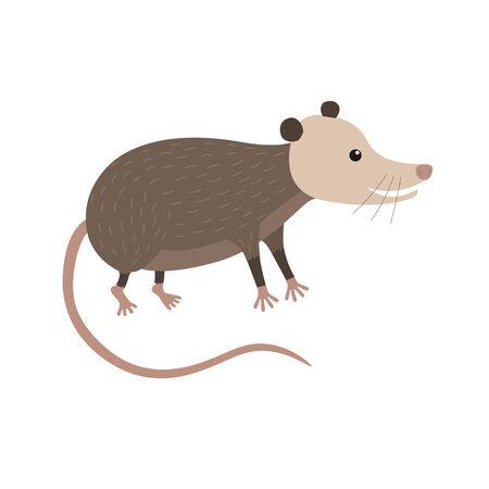Illustration pour Clipart illustration of cute cartoon opossum - image libre de droit