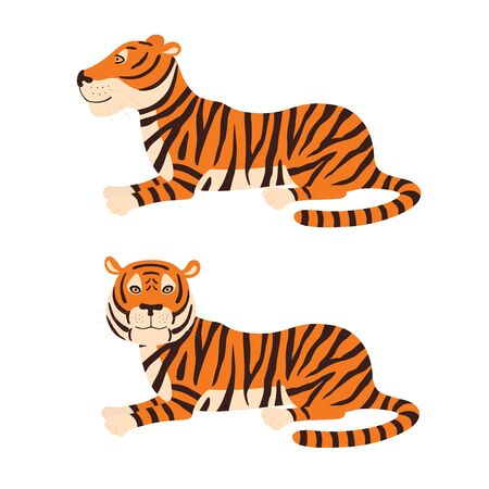 Illustration pour Adult big red tiger lies on ground wildlife and fauna theme cartoon animal design flat vector illustration isolated on white background - image libre de droit