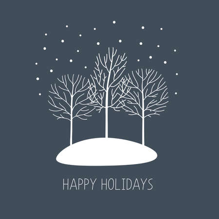 Illustration for Vector card with hand drawn winter trees under the snow. Happy holidays - Royalty Free Image