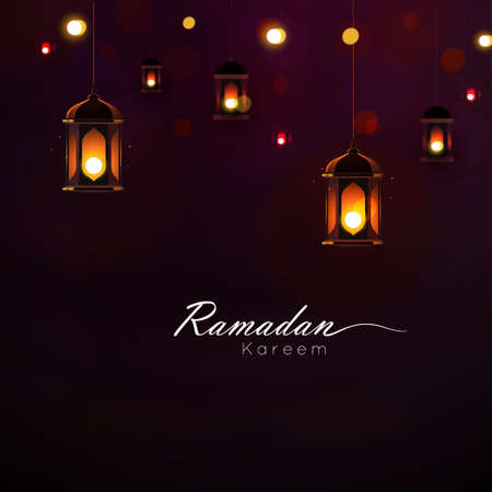 Illustration pour Ramadan Kareem greeting on blurred background with beautiful illuminated Arabic lamp and hand drew calligraphy lettering. Vector illustration. - image libre de droit