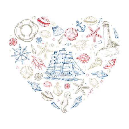 Illustration for Vector heart from summer marine elements - Royalty Free Image
